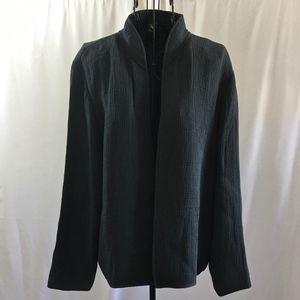 Eileen Fisher Silk Blend Mandarin Jacket Cardigan